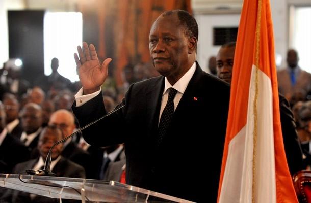 Alassane Ouattara lors de sa prestation de serment